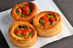 Vol-au-vent with mushroom and chicken, on white paper Stock Photography