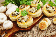 Vol au vent with mushroom stuffing Royalty Free Stock Image