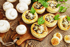 Vol au vent with mushroom stuffing Stock Photography