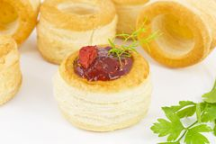 Vol-au vent with red hot chili peppers cream Royalty Free Stock Images