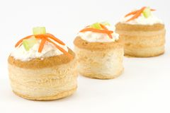Vol au vent with ricotta cheese and vegetables Royalty Free Stock Photography