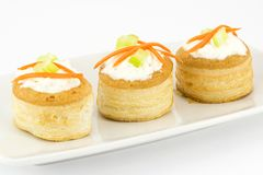 Vol au vent with ricotta cheese and vegetables Royalty Free Stock Photos
