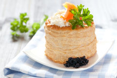 Vol au vent with salmon Royalty Free Stock Image