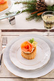 Vol-au-vent with salmon Royalty Free Stock Images
