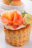 Vol-au-vent with salmon Stock Image