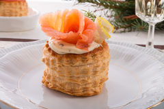 Vol-au-vent with salmon Stock Photography