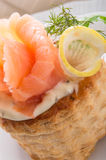 Vol-au-vent with salmon stock images