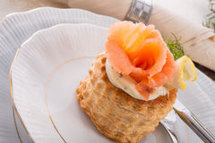 Vol-au-vent with salmon Stock Photo