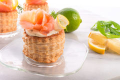 Vol-au-vent with salmon royalty free stock photo