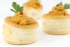 Vol au vent with salmon and red pepper sauce Stock Images