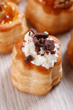 Vol au vent with shaved chocolate Stock Photos
