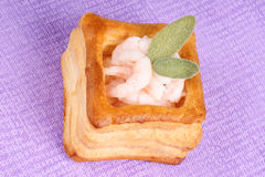 Vol-au-vent with shrimps and sage Royalty Free Stock Photo