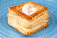Vol-au-vent with small shrimps Stock Photos
