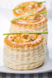 Vol au vent stuffed with seafood cream Royalty Free Stock Photography