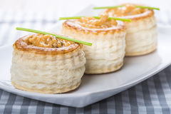 Vol au vent stuffed with seafood cream Stock Images