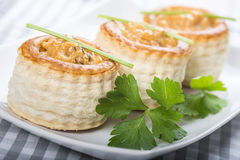 Vol au vent stuffed with seafood cream Royalty Free Stock Images