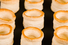 Vol au vents in a row Stock Photos