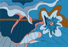 Vol bleu abstrait coloré de fleur dans le myst près du plancher illustration de vecteur
