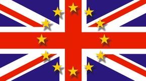 Vol britannique de drapeau au drapeau de moitié-personnel et d'Eu en haut - concept de Brexit - économie de R-U et de l'Angleterr illustration stock