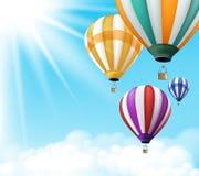 Vol chaud coloré réaliste de fond de ballons à air illustration de vecteur