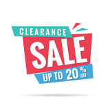 Vol. 3 Clearance Sale blue green red 20 percent heading design f. Or banner or poster. Sale and Discounts Concept. Vector illustration Royalty Free Stock Photos