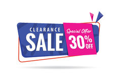 Vol. 2 Clearance Sale  blue pink 30 percent heading design for b. Anner or poster. Sale and Discounts Concept. Vector illustration Royalty Free Stock Photography
