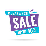 Vol. 3 Clearance Sale blue purple 40 percent heading design for Royalty Free Stock Images