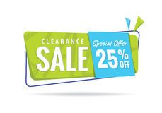 Vol. 2 Clearance Sale green blue 25 percent heading design for b. Anner or poster. Sale and Discounts Concept. Vector illustration Royalty Free Stock Photo