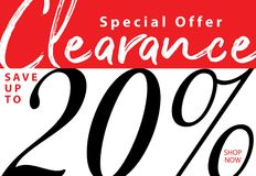 Vol. 5 Clearance Sale 20 percent heading design for banner or po. Ster. Sale and Discounts Concept Royalty Free Stock Photography