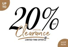 Vol. 5.3 Clearance Sale 20 percent heading design for banner or. Poster. Sale and Discounts Concept Stock Image