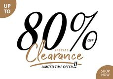 Vol. 5.3 Clearance Sale 80 percent heading design for banner or. Poster. Sale and Discounts Concept vector illustration