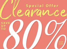 Vol. 5.2 Clearance Sale 80 percent heading design for banner or. Poster. Sale and Discounts Concept stock illustration