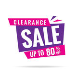 Vol. 3 Clearance Sale pink purple 80 percent heading design for Royalty Free Stock Photos