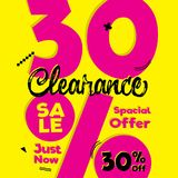 Vol. 4 Clearance Sale pink yellow 30 percent heading design for. Banner or poster. Sale and Discounts Concept. Vector illustration Stock Images