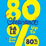Vol. 4 Clearance Sale yellow blue 80 percent heading design for. Banner or poster. Sale and Discounts Concept. Vector illustration Stock Photos