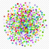 Vol coloré tombant les éléments de la décoration de la célébration Fond abstrait avec les confettis en baisse Photos stock