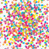 Vol coloré tombant les éléments de la décoration de la célébration Fond abstrait avec les confettis en baisse Photos libres de droits