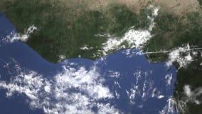 Vol commercial d'avion vers Abidjan, Côte d'Ivoire, animation 3D illustration libre de droits