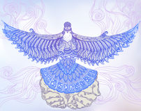 Vol décoratif de colombe hors des mains humaines Image libre de droits