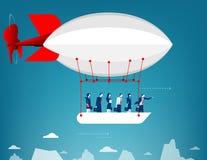 Vol d'équipe d'affaires dans le ciel sur le ballon à air chaud Regard plus de Images stock