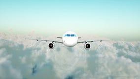 Vol d'Airbus de passager dans les nuages concept de course Animation 4K réaliste banque de vidéos