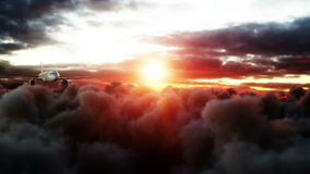 Vol d'Airbus de passager dans les nuages concept de course Animation 4K réaliste clips vidéos