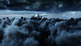 Vol d'Airbus de passager dans les nuages Mauvais temps Animation 4K réaliste banque de vidéos