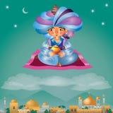 Vol d'Aladdin sur un tapis magique illustration stock