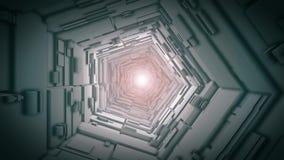 Vol d'appareil-photo par un long tunnel droit, boucle illustration stock