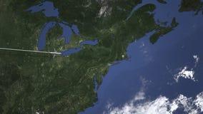 Vol d'avion à Providence, Etats-Unis de l'animation occidentale de l'introduction 3D illustration libre de droits