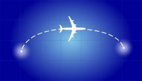 Vol d'avion d'un point à l'autre Photo libre de droits