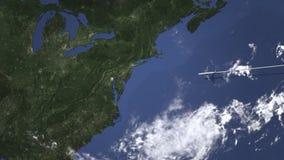 Vol d'avion de ligne vers Baltimore, Etats-Unis d'est, animation 3D banque de vidéos