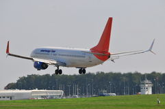 Vol d'avion de Sunwing Photos libres de droits
