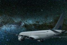 Vol d'avion la nuit Galaxie de manière laiteuse Image libre de droits